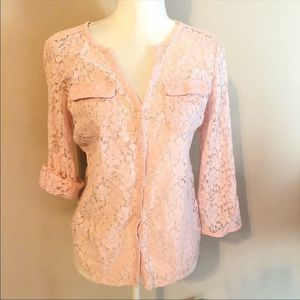 ⭐️3for$25 NY&C Lace Sheer Button Down